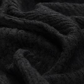 Костюмно-плательная черная шерстяная ткань фактурная