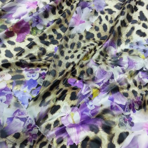 Органза с принтом орхидеи на леопардовом фоне