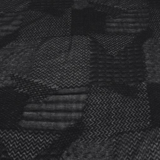 Черная шерстяная марлевка с жаккардовым пэчворк