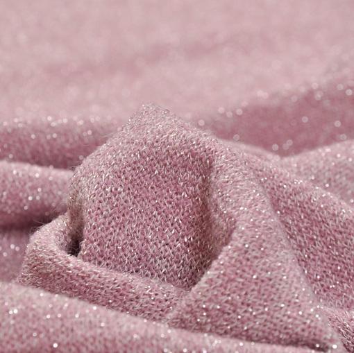 Нарядный вязанный трикотаж грязно-розового цвета с люрексом