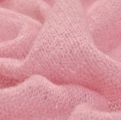 Розовый ажурный трикотаж с нежным люрексом