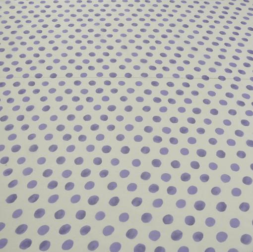 Белый шифон в светло-фиолетовый крупный горох