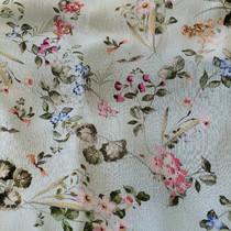 Вискоза плательная креш цветы на нежно-бирюзовом фоне