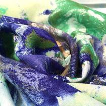 Вискоза тонкая мягкая принт размытые цветы
