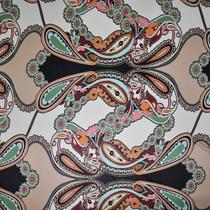 Вискоза скользкая Pucci стрейч принт огурцы в пастельных тонах