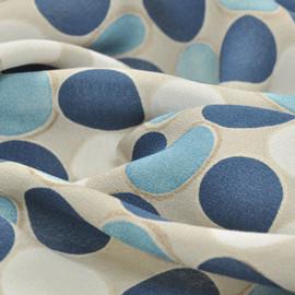 Вискоза крепдешин светло серого цвета в темно-синий, голубой и светло-серый горох