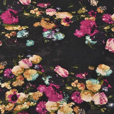 Вискоза плательная черного цвета в букетиках из роз и тюльпанов в малиново-коричневых тонах