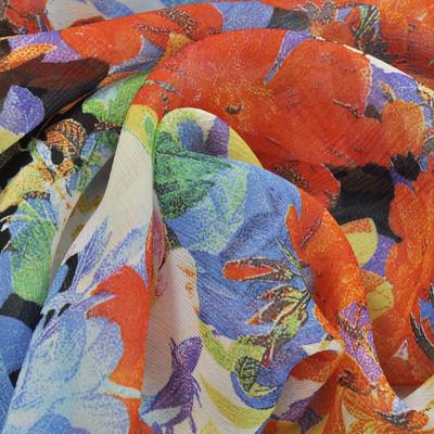 Вискоза жоржет-креш в сине-оранжевые цветы