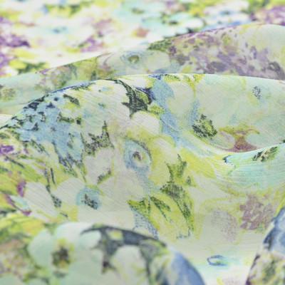 Вискоза креш-жоржет с сине-фиолетовыми цветочками
