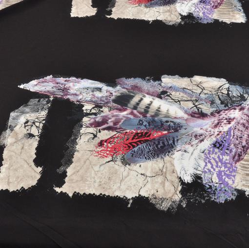 Вискоза плательная купон в виде ярких перьев