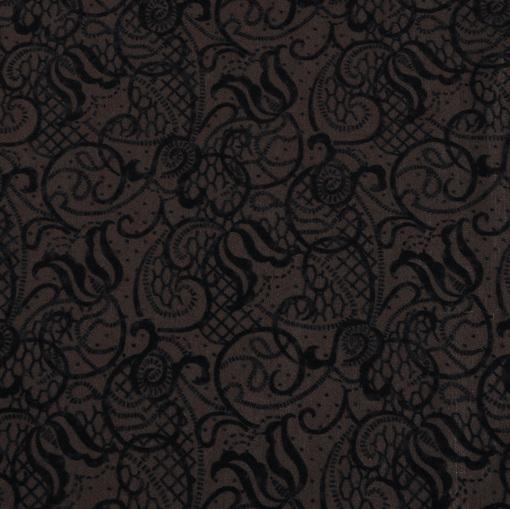 Тонкий вискозный трикотаж коричневого цвета с флоковым рисунком