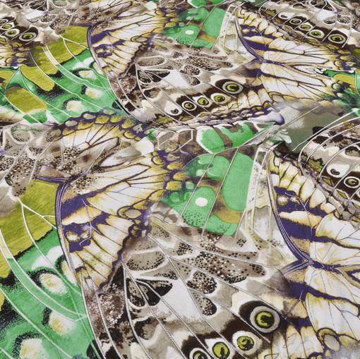 Вискозный трикотаж с изумрудно-коричневым рисунком в виде бабочек