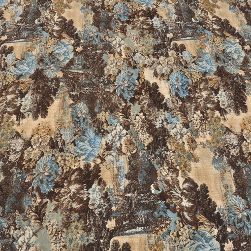 Вискозный трикотаж с бирюзово-коричневым рисунком