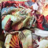 Вискозный трикотаж принт абстракция в охристо-терракотовых тонах