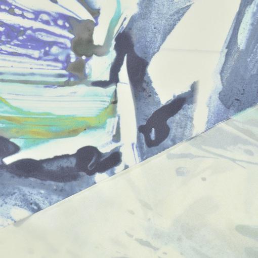 Плащевка в сине-желтых тонах с абстрактным рисунком