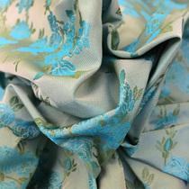 Плащевая ткань Blumarine нежные букеты на мятном фоне