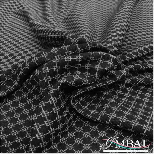 Джерси вискозное плательно-костюмное черно-серая геометрия