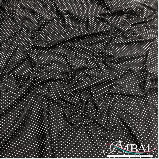 Джерси вискозное плательно-костюмное мелкие горошки на черном фоне