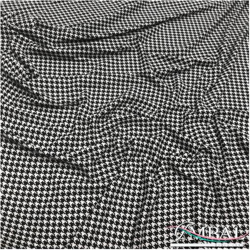Джерси вискозное плательно-костюмное черно-белый пье-де-пуль