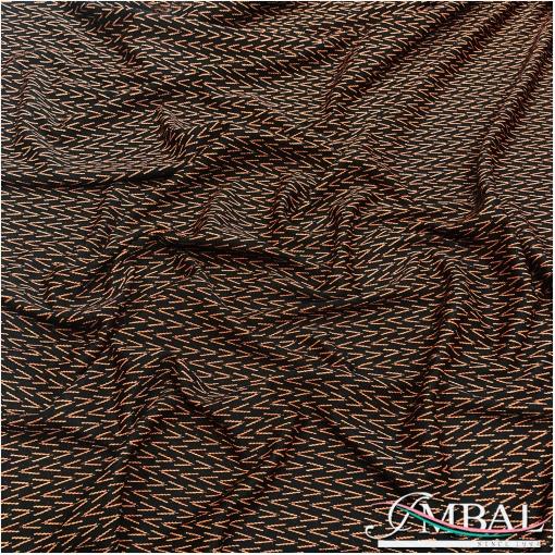 Джерси вискозное плательно-костюмное терракотовые галочки с люрексом на черном фоне