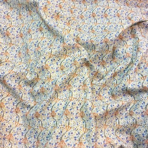 Хлопок двойной мягкий принт ETRO бабушкин сундук сине-желтая гамма