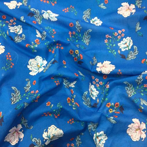 Хлопок тонкий стрейч принт Ferretti бело-красные цветы на синем фоне