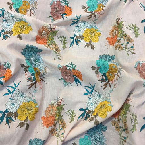 Хлопок тонкий принт Ferretti желто-бирюзовые цветы на пудровом фоне