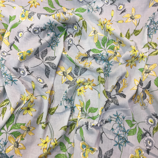 Хлопок тонкий принт Ferretti желто-зеленые цветы на сером фоне