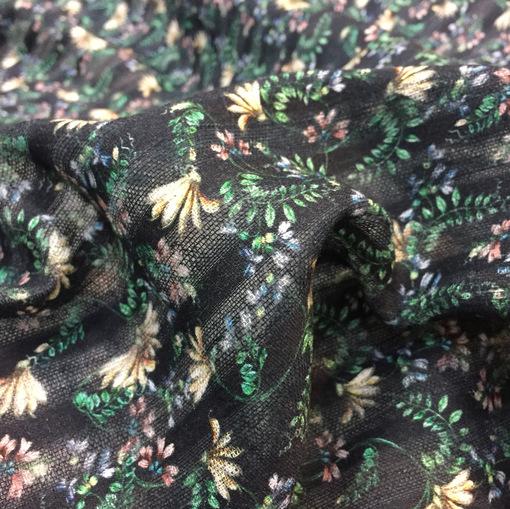 Хлопок деворе принт ETRO полосы и цветы на черном фоне