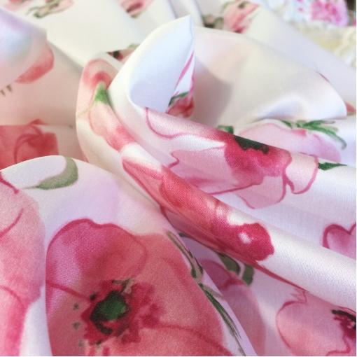 Хлопок тонкий с вискозой принт Blumarine розовые маки под органзу