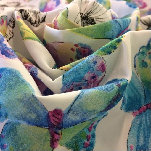 Хлопок тонкий принт Blumarine голубые бабочки
