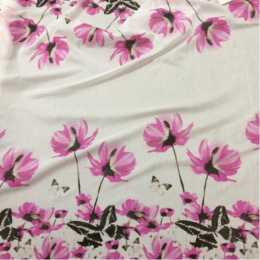 Муслин хлопок с шелком купон розовые цветы и бабочки