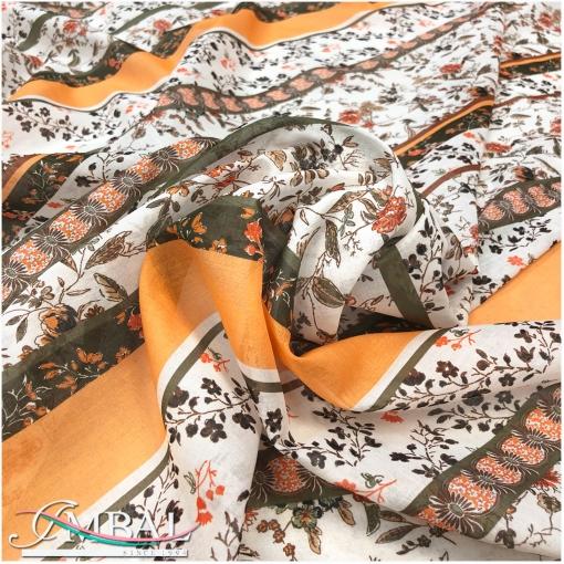 Батист хлопковый принт Ratti цветы и полосы в мандариново-табачной гамме