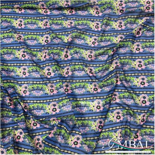 Батист хлопковый принт геометрический орнамент на синем фоне