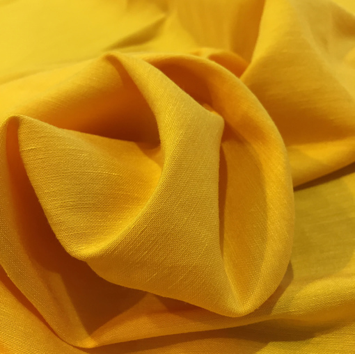 Лен стрейч мягкий теплого желтого цвета