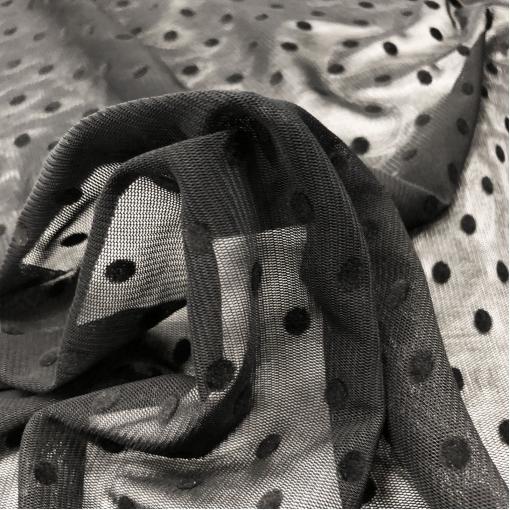 Сетка дизайн La Perla с флоковыми горошинами черного цвета
