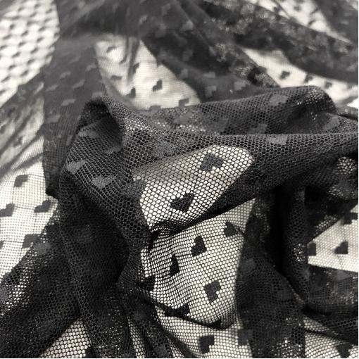 Сетка мягкая стрейч La Perla черного цвета с сердечками