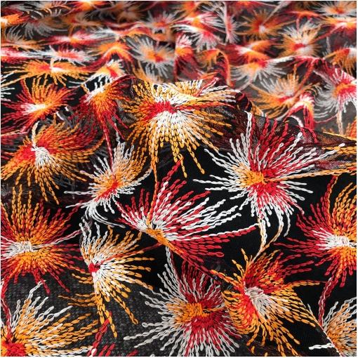 Сетка нарядная стрейч с вышивкой в оранжево-бело-красных тонах