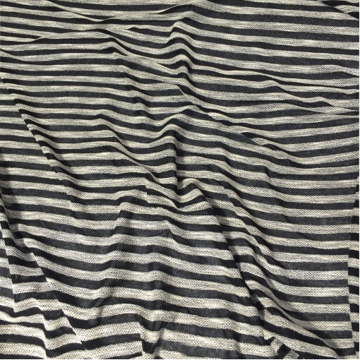 Трикотаж вискозный нарядный с объемными полосами с люрексом черного цвета