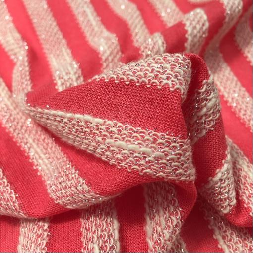 Трикотаж вискозный нарядный с объемными полосами с люрексом кораллового цвета