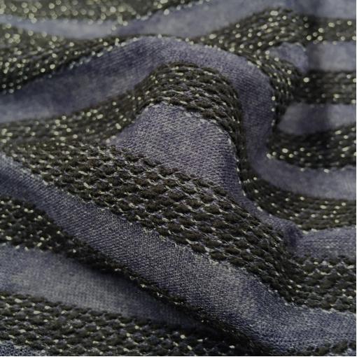 Трикотаж вискозный нарядный с объемными полосами с люрексом синего цвета