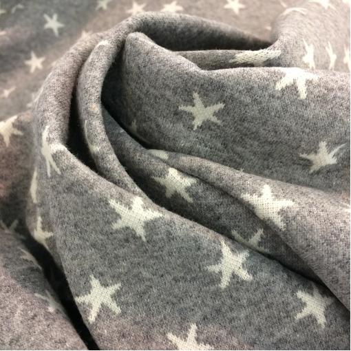 Трикотаж вискозный мягкий Max Mara светло-серого цвета со звездами