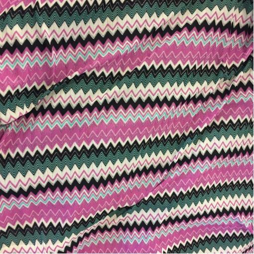 Трикотаж вискозный нарядный  Missoni цветные розово-бело-черные зигзаги с люрексом
