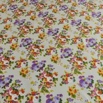 Атлас стрейч белая основа и разноцветный цветок