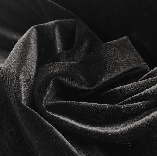 Бархат стрейч черного цвета