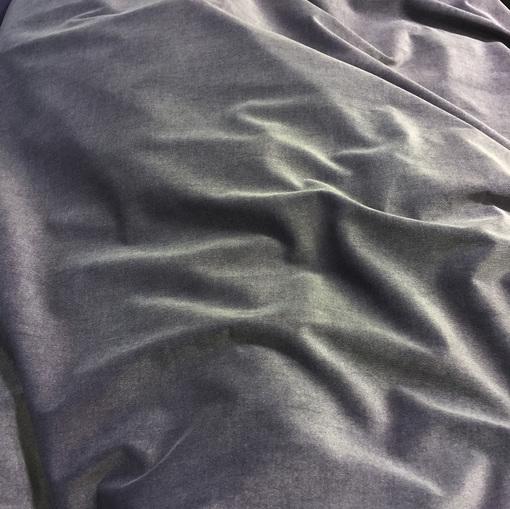 Лёгкий бархат-вельвет стрейч серо-голубого цвета