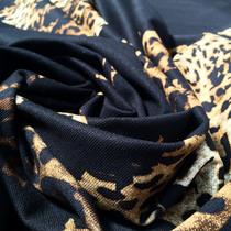 Джерси вискозное купон леопардовые розы на черном