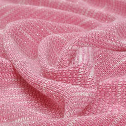 Джерси вязаное меланжевое в розовых тонах с люрексом