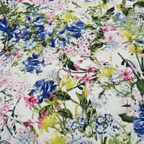 Хлопок стрейч принт полевые сине-желтые цветы