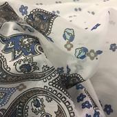 Хлопок батист принт ETRO поперечный купон огурцы в синих тонах
